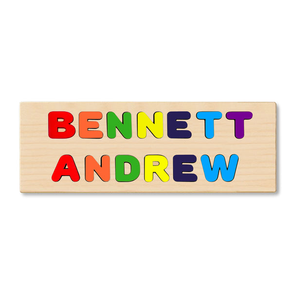 2 Wooden Name Puzzles FIRST & LAST or 2 NAMES on Single Board Choose up to 12 Letters EACH ROW