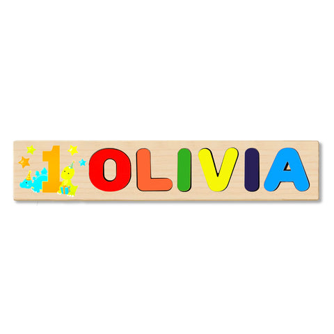 Wooden Name Puzzle Personalized Puzzle Choose Up to 12 Letters. 1st Birthday Dinosaur Theme