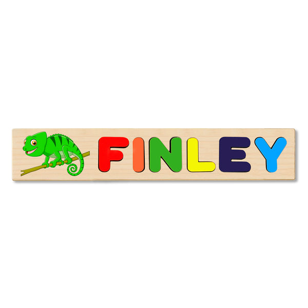 Wooden Name Puzzle Personalized Puzzle Choose Up to 12 Letters. Cute Baby Dog Theme