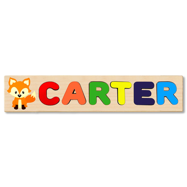 Wooden Name Puzzle Personalized Puzzle Choose Up to 12 Letters. Baby Fox Theme