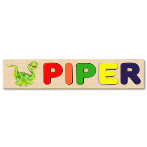 Wooden Name Puzzle Personalized Puzzle Choose Up to 12 Letters. Baby Dinosaur Brachiosaurus Cartoon Theme