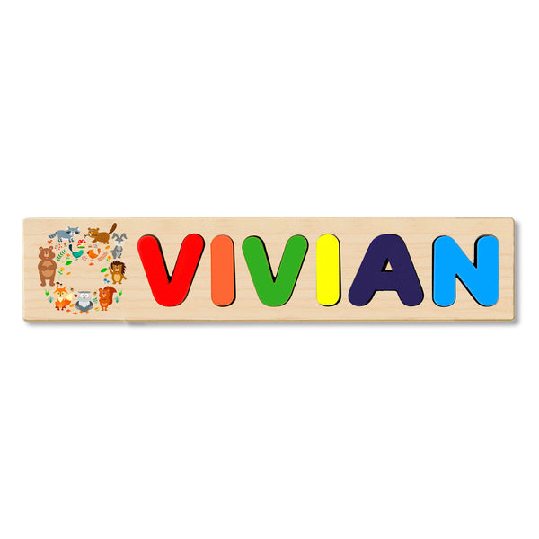 Wooden Name Puzzle Personalized Puzzle Choose Up to 12 Letters. Animals Circle Group Theme