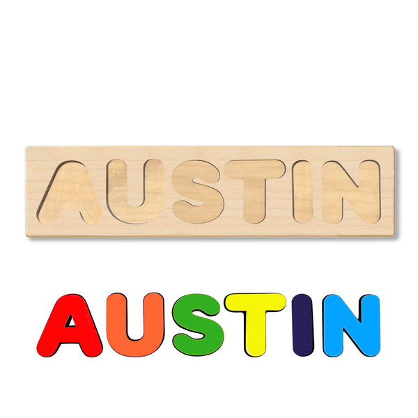 Wooden Personalized Name Puzzle - Any Name Or First & Last Name Choose up to 12 Letters No Extra Cost - AUSTIN
