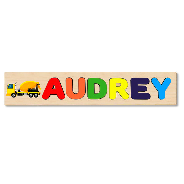 Wooden Name Puzzle Personalized Puzzle Choose Up to 12 Letters. Cement Truck Theme