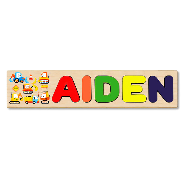 Wooden Name Puzzle Personalized Puzzle Choose Up to 12 Letters. Cartoon Construction Vehicles Theme