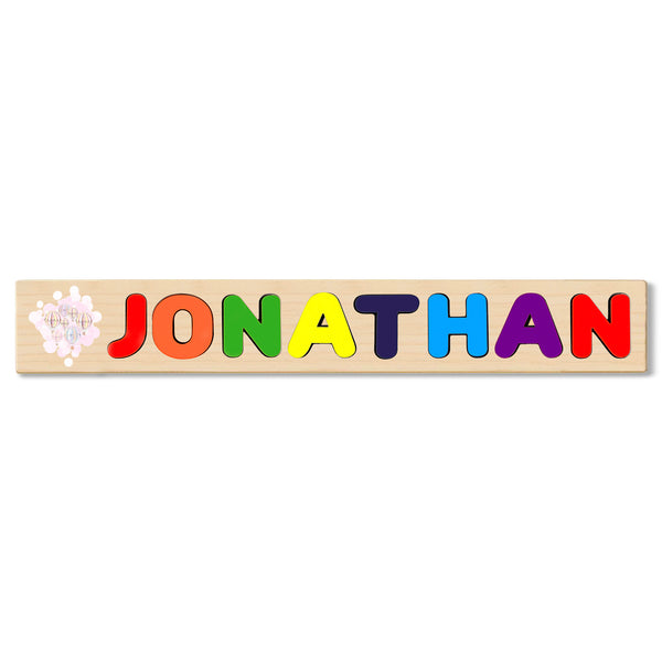 Wooden Name Puzzle Personalized Puzzle Choose Up to 12 Letters. World Map With Balloon Ride Theme