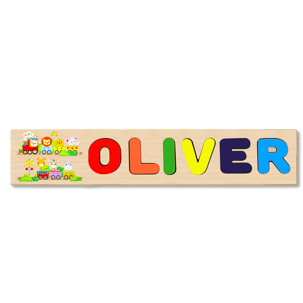 Wooden Name Puzzle Personalized Puzzle Choose Up to 12 Letters. Baby Animal Train Theme