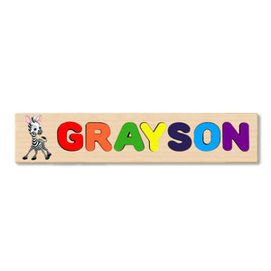 Wooden Name Puzzle Personalized Puzzle Choose Up to 12 Letters. Baby Zebra Theme