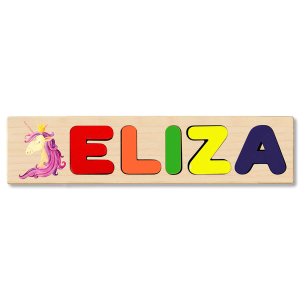Wooden Name Puzzle Personalized Puzzle Choose Up to 12 Letters. Purple Unicorn Theme