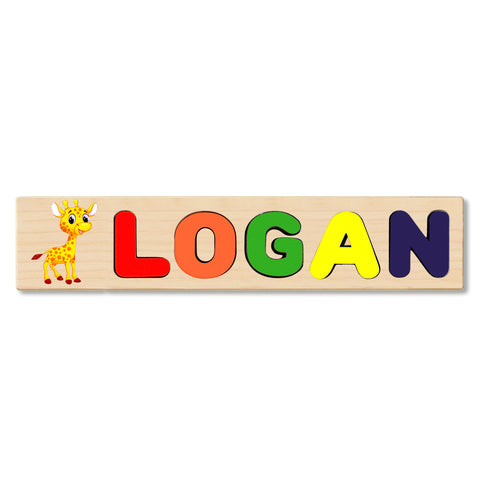 Wooden Name Puzzle Personalized Puzzle Choose Up to 12 Letters. Baby Giraffe Theme
