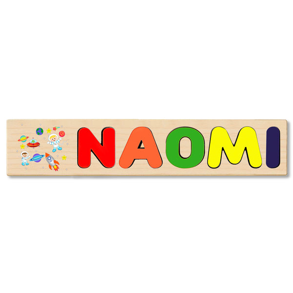 Wooden Name Puzzle Personalized Puzzle Choose Up to 12 Letters. Universe Astronaut Theme
