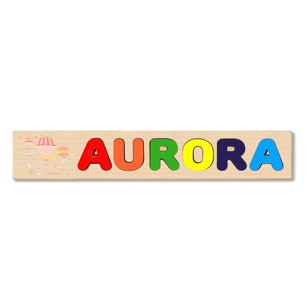 Wooden Name Puzzle Personalized Puzzle Choose Upto 12 Letters. Hot Air Balloons Art Theme