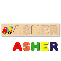 Wooden Name Puzzle Personalized Puzzle Choose Up to 12 Letters. Cartoon Cement Truck Theme
