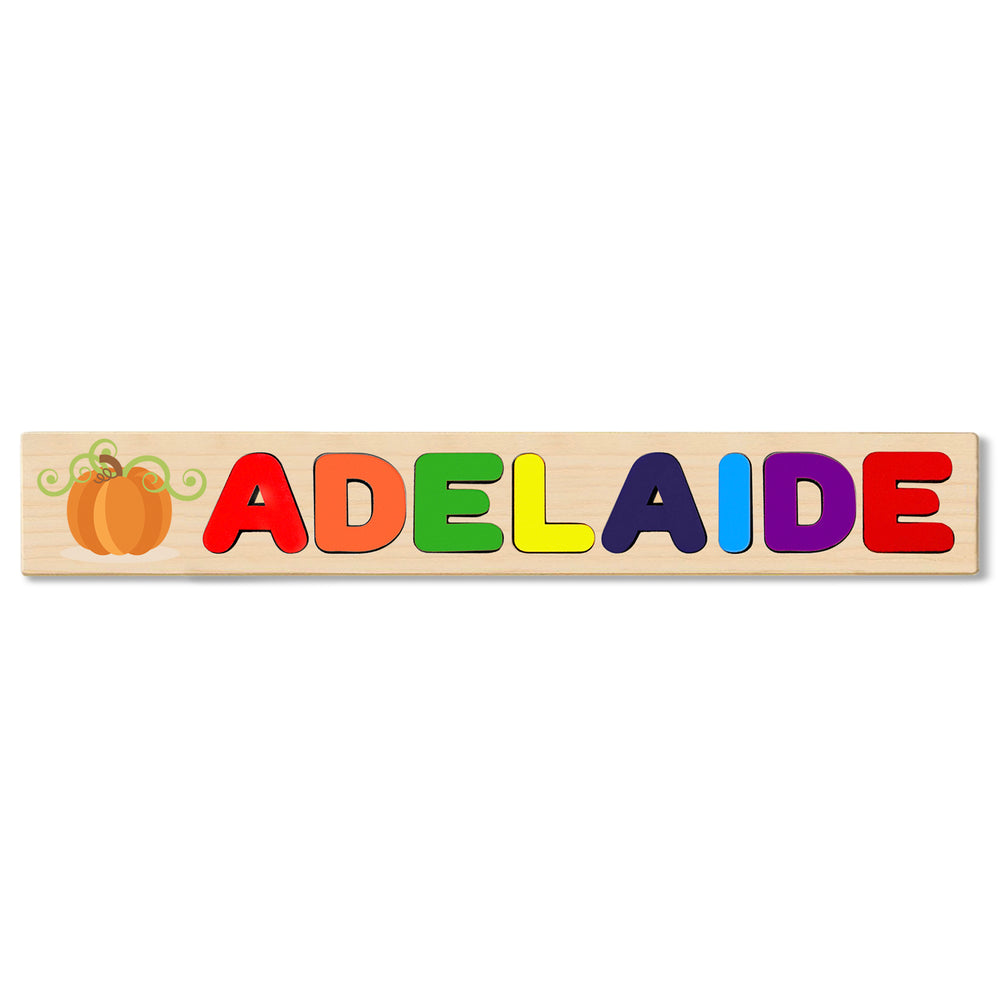 Wooden Name Puzzle Personalized Puzzle Choose Up to 12 Letters. Halloween Pumpkin Cartoon Theme