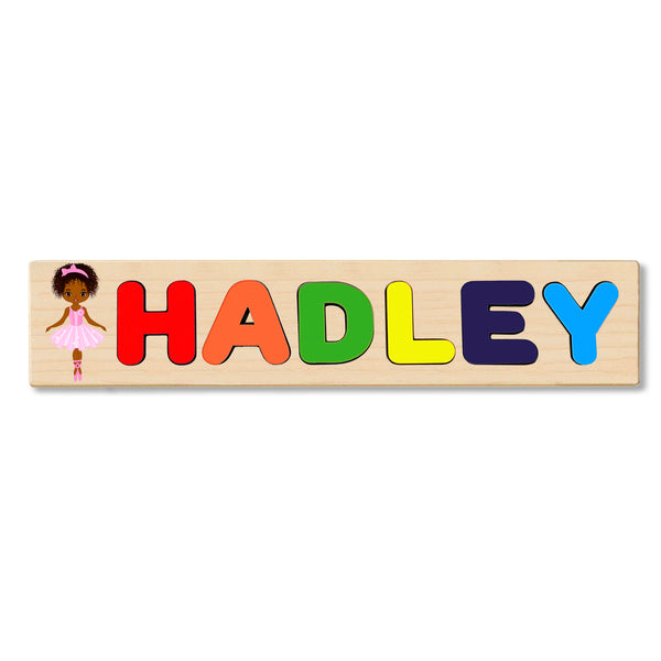 Wooden Name Puzzle Personalized Puzzle Choose Up to 12 Letters. Black Dancing Princess Theme