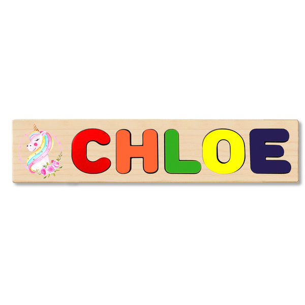 Wooden Name Puzzle Personalized Puzzle Choose Up to 12 Letters. Pink Unicorn Theme