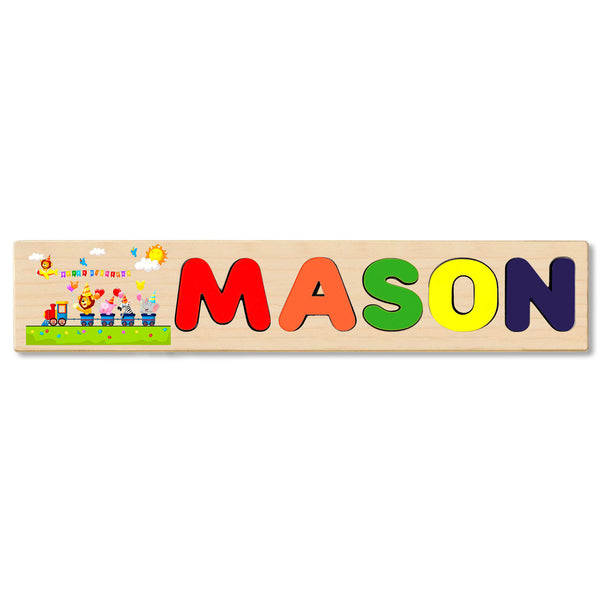Wooden Name Puzzle Personalized Puzzle Choose Up to 12 Letters. Happy Birthday With Animal On Train Theme