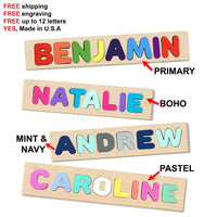 Wooden Name Puzzle 4 Colors to Choose - Choose Up to 12 Letters - ONLY we offerup to 12 name letters at no extra cost!