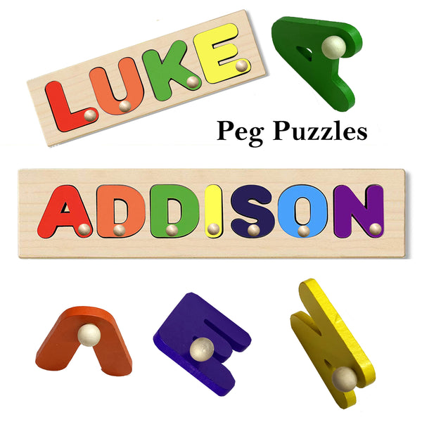 Wooden Name Puzzle With Pegs - Choose up to 12 Peg Letters on Each Puzzle