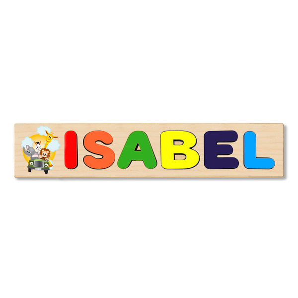 Wooden Name Puzzle Personalized Puzzle Choose Up to 12 Letters. Animal With Car Theme