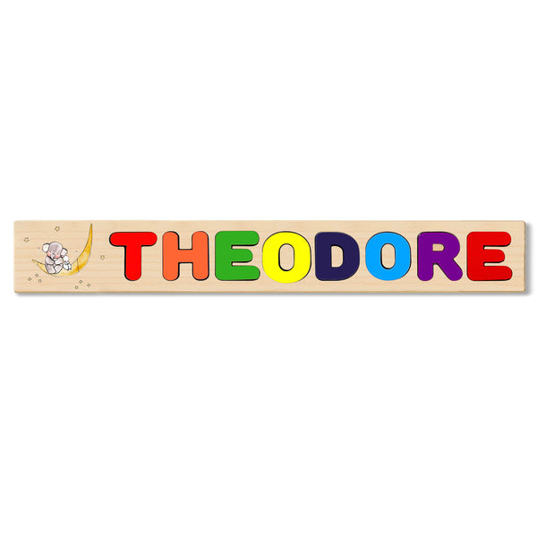 Wooden Name Puzzle Personalized Puzzle Choose Up to 12 Letters. Elephant With Rabbit And Moon Theme
