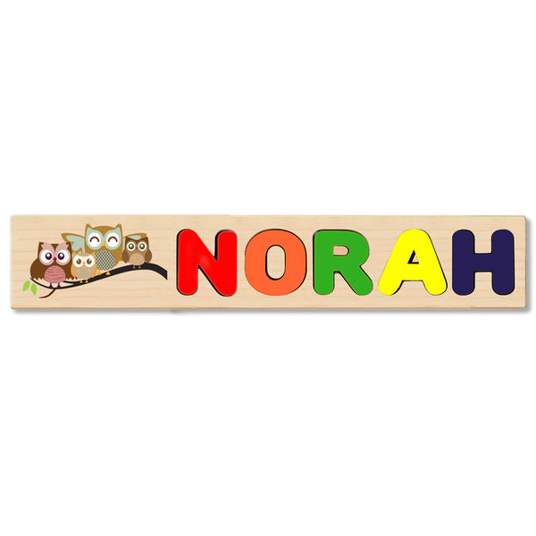 Wooden Name Puzzle Personalized Puzzle Choose Up to 12 Letters. Cute Baby Owls Theme