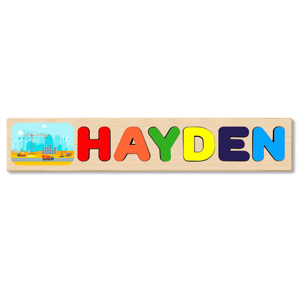 Wooden Name Puzzle Personalized Puzzle Choose Up to 12 Letters. Countruction City Theme