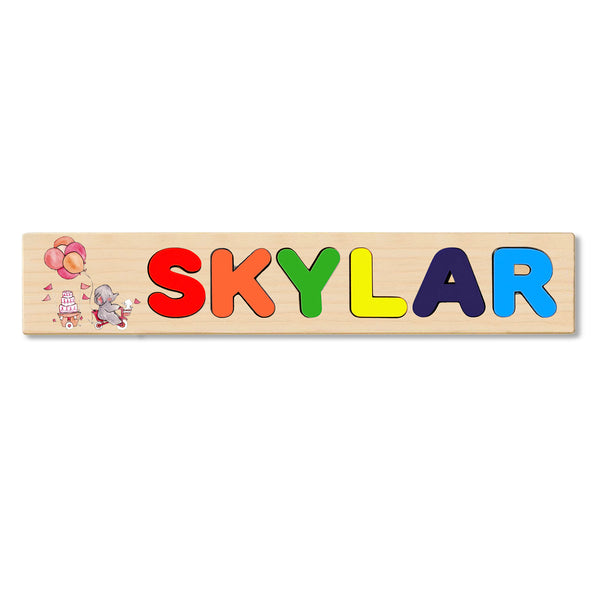 Wooden Name Puzzle Personalized Puzzle Choose Up to 12 Letters. Elephent With Cake And Balloon Theme