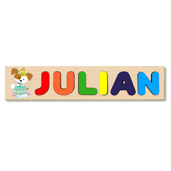 Wooden Name Puzzle Personalized Puzzle Choose Up to 12 Letters. White Dog With Birthday Cake Theme