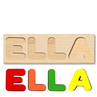 Wooden Name Puzzle Personalized Puzzle Choose Up to 12 Letters. Elephent And Rabbit With Books Theme