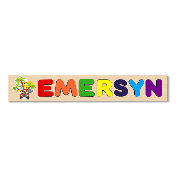 Wooden Name Puzzle Personalized Puzzle Choose Up to 12 Letters. Animal At Beach Theme
