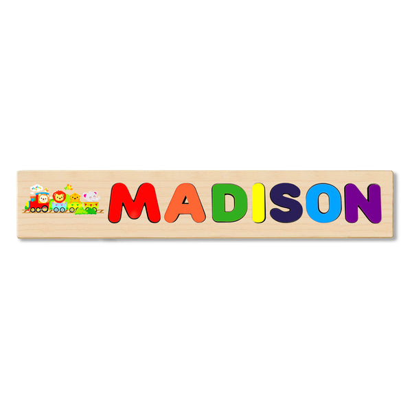 Wooden Name Puzzle Personalized Puzzle Choose Up to 12 Letters. Baby Train Animal 1 Theme