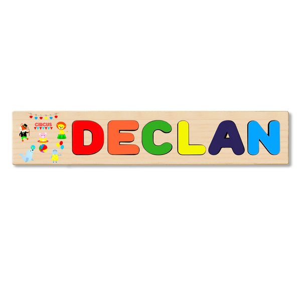 Wooden Name Puzzle Personalized Puzzle Choose Up to 12 Letters. Circusanimals Theme