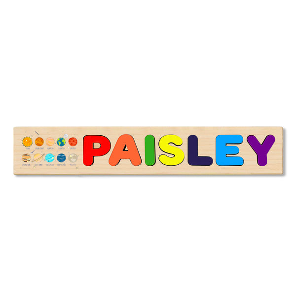 Wooden Name Puzzle Personalized Puzzle Choose Upto 12 Letters. Universe Planets Theme
