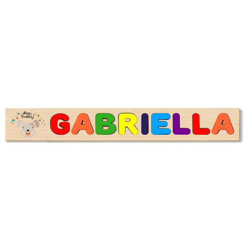 Wooden Name Puzzle Personalized Puzzle Choose Up to 12 Letters. Baby Rhino Hours Sitting Theme