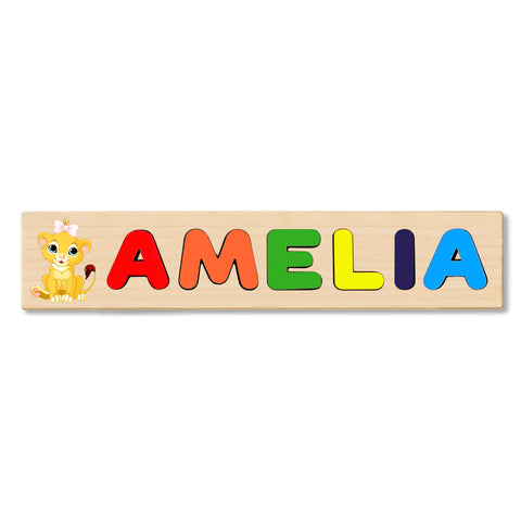 Wooden Name Puzzle Personalized Puzzle Choose Up to 12 Letters. Baby Lion With Bow Theme