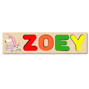 Wooden Name Puzzle Personalized Puzzle Choose Up to 12 Letters. Unicorn With Flowers Theme