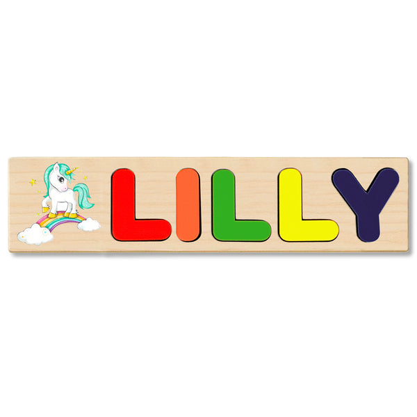 Wooden Name Puzzle Personalized Puzzle Choose Up to 12 Letters. Cute Magical Unicorn Theme