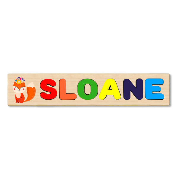 Wooden Name Puzzle Personalized Puzzle Choose Up to 12 Letters. Happy Birthday Baby Fox Theme