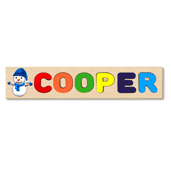 Wooden Name Puzzle Personalized Puzzle Choose Up to 12 Letters. Blue Snowman Theme