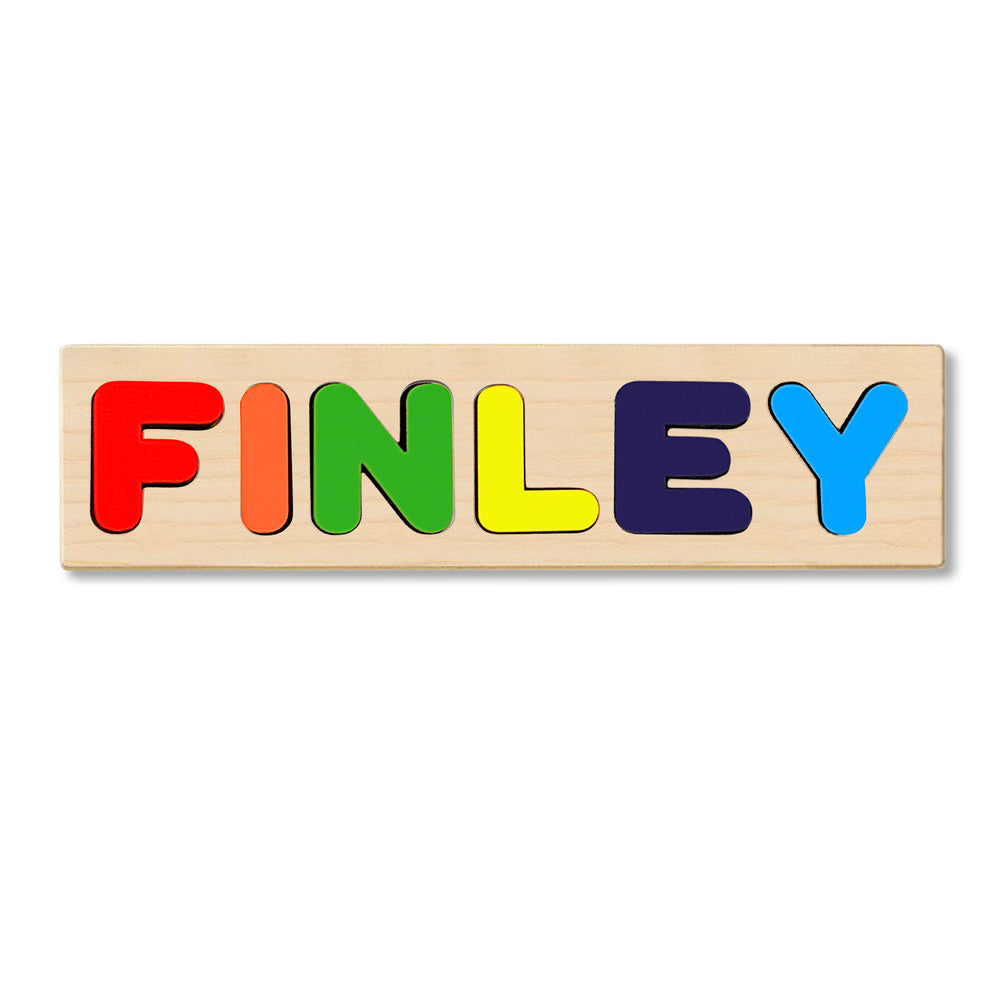 Wooden Personalized Name Puzzle - Any Name Or First & Last Name Choose up to 12 Letters No Extra Cost - FINLEY