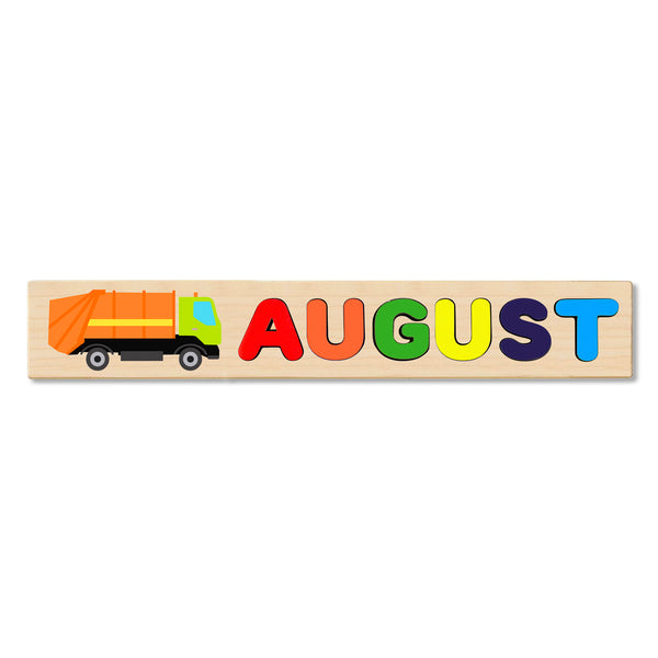Wooden Name Puzzle Personalized Puzzle Choose Up to 12 Letters. Trash Truck Theme