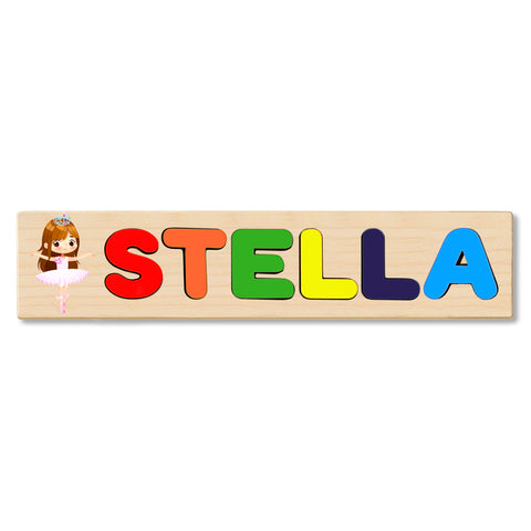 Wooden Name Puzzle Personalized Puzzle Choose Up to 12 Letters. Ballerina With Brown Hair And Crown Theme