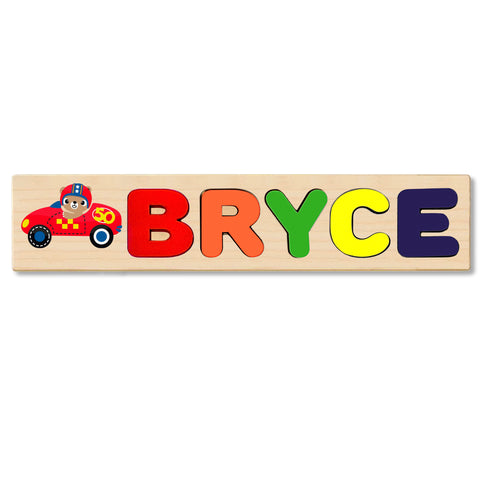 Wooden Name Puzzle Personalized Puzzle Choose Up to 12 Letters. Bear Race Car Theme
