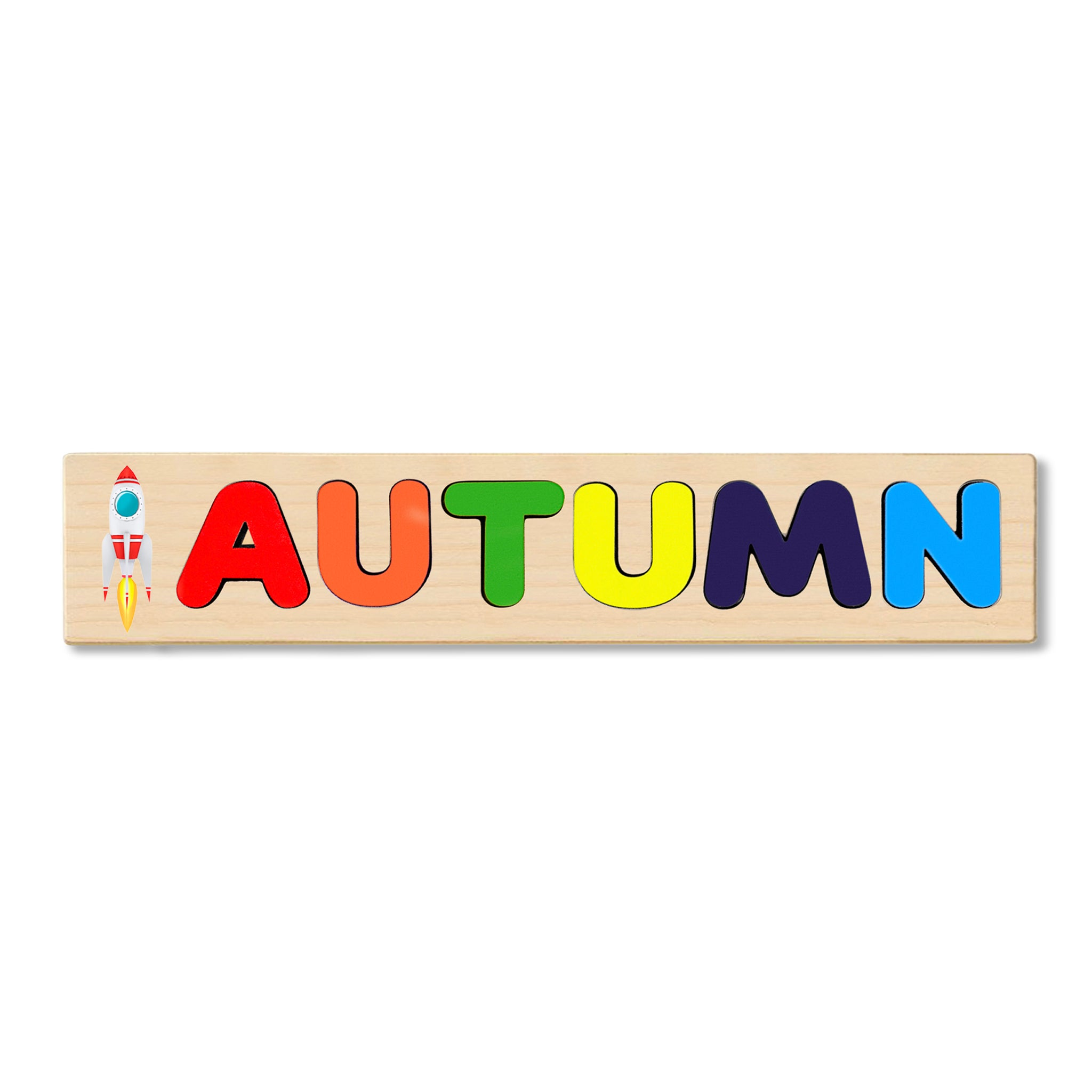 Wooden Name Puzzle Personalized Puzzle Choose Up to 12 Letters. Space Rocket  Theme
