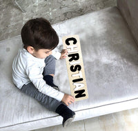 Wooden Name Puzzle Black & White Colors - Choose Up to 12 Letters - Free Back Engraving!