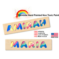 Rainbow Board Letters Wooden Name Puzzle - Made In U.S.A