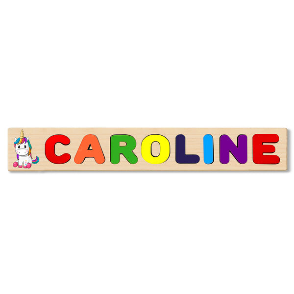 Wooden Name Puzzle Personalized Puzzle Choose Up to 12 Letters. Baby Pastel Rainbow Theme