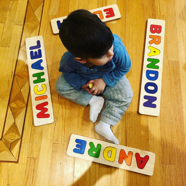 Primary Colors! Wooden Name Puzzle - Single name Puzzle Up to 12 Letters