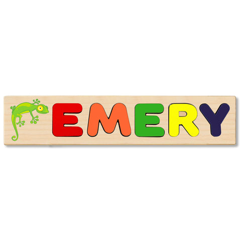 Wooden Name Puzzle Personalized Puzzle Choose Up to 12 Letters. Baby Lizard Theme
